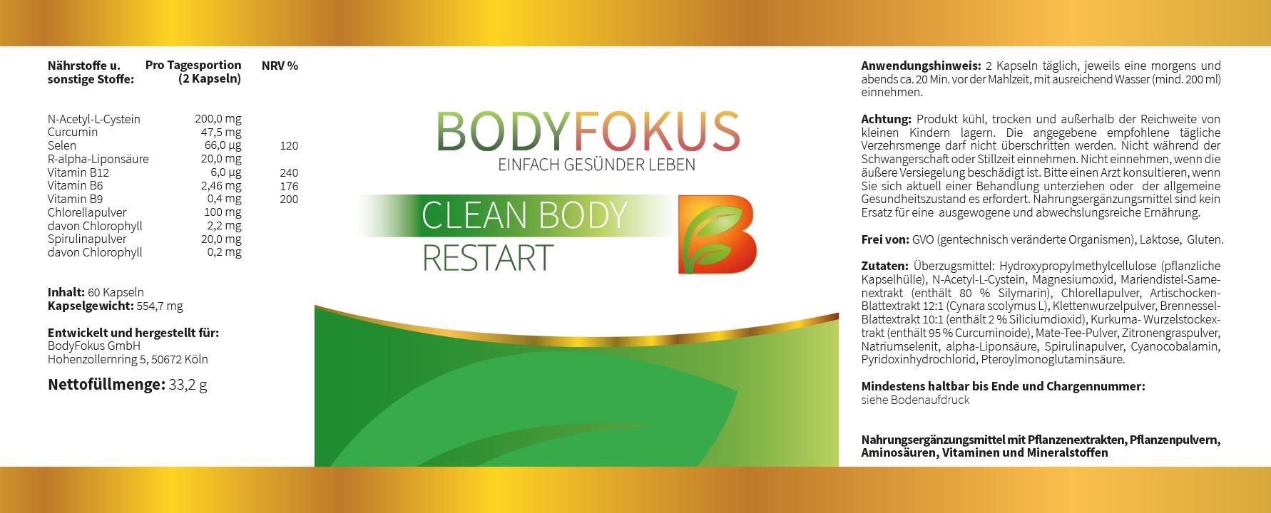 Clean Body Restart Etikett